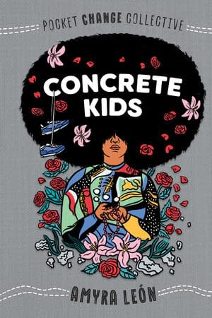 Grey background. Beautiful illustration of person with a round, blown-up afro with the title Concrete Kids written on the hair. The person is wearing a multicolered shirt, holding their hands folded in front on them and surrounded by flowers