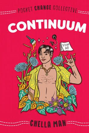 Red background. Beautiful illustration of author Chella Man in yellow open shirt and plants around him. Title Continuum written across with author name in the bottom.