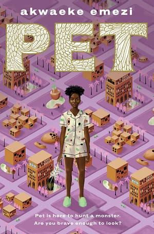 Front cover showing a young black trans girl looming above buildings on a purple background.