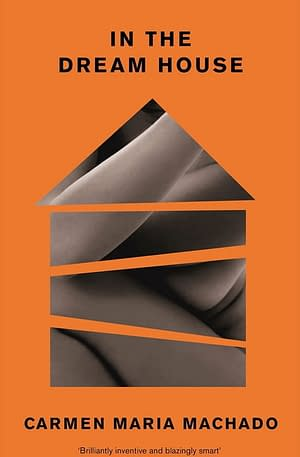 cover in bright orange showing a fragmented shape of a house textured with photos of body parts . Title in black font.