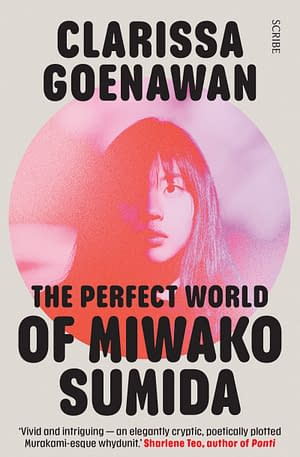 cream cover with photo of Miwako on the front in hazy red and pink filtered light. The title 'The Perfect World of Miwako Sumida' is visible in black font overlayed on the circular image.