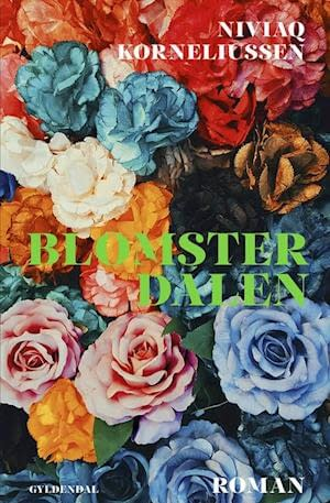 Cover is a lot of roses in different colors: blue, pink, yellow, orange, white, red, black. The title is written in green