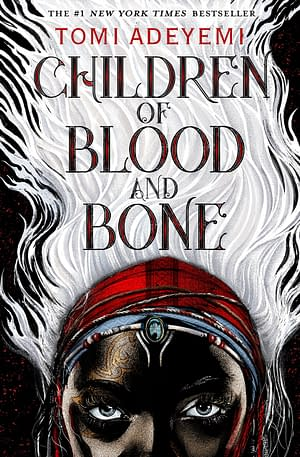 A head looking from the bottom of the cover, with the white hair going up filling the whole front. Children of Blood and Bone written in the hair