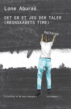 Drawn cover with black crayon like color and white stripe in the middle. The author seen from the back is holding some of the title and wearing denim jeans and a white t-shirt.