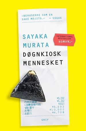 Yellow background. Picture of a receipt where the title and author is written on. Also picture of an Onigiri.