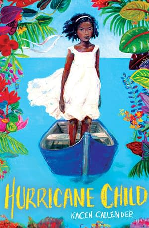 Picture of a child in a white dress stnading in a small blue boat looking at the viewer. surrounded by flowers