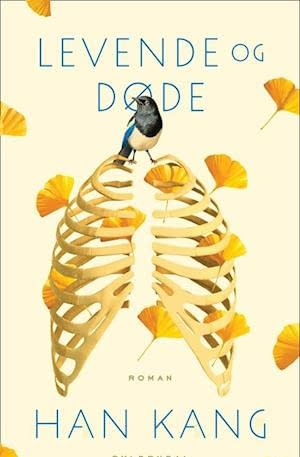 Cream background. Ginko leaves in orange are spread across. A rib cage is front picture. Title in top and author in botton. Baby blue text