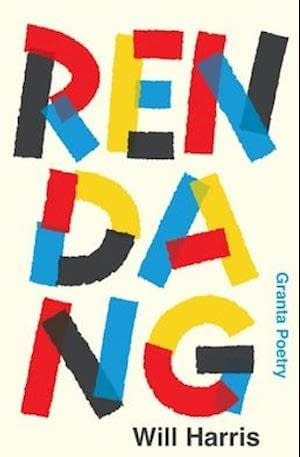 Cream backgroung with the title Rendang in capitals filling it all out. The letters are made by black, red, blue and yellow colors