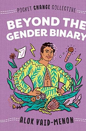 purple cover showing an illustration of Alok in a beautiful two piece green blazer and skirt. They are surrounded by lightning bolts and flowers.