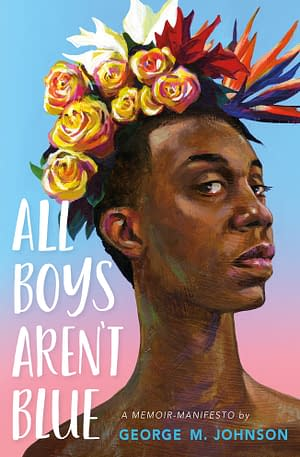 a Black boy against a pastel sky, with flowers in their hair, face and neck held